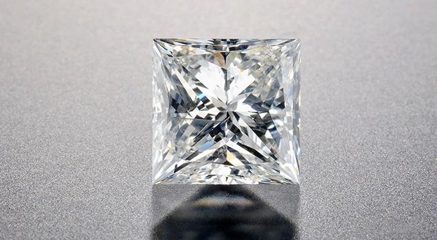 Fracture-filled square modified brilliant cut diamond.