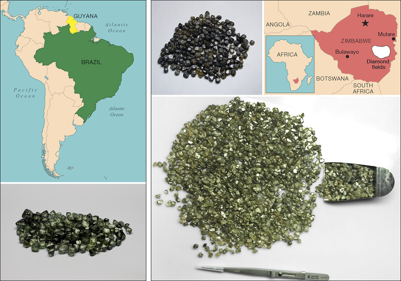 Green diamonds have been produced from Guyana and Brazil (left) as well as Zimbabwe (right).