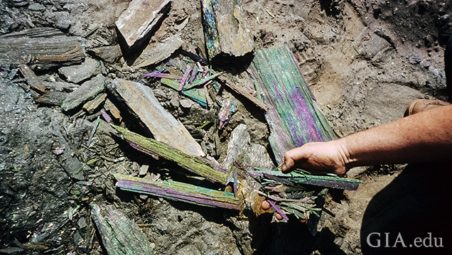 Rainbow hematite from Brazil's Andrade mine.