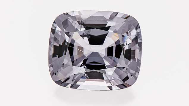 Spinel with nearly perfectly neutral gray color with only a slightly bluish tinge.