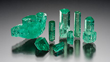 Emerald rough from Colombia's Coscuez mine.