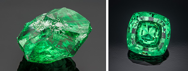 A 283.74 ct rough tsavorite (left) yielded this 11.674 ct square cushion-cut gem (right).