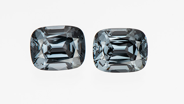 Matched slightly bluish gray spinels.