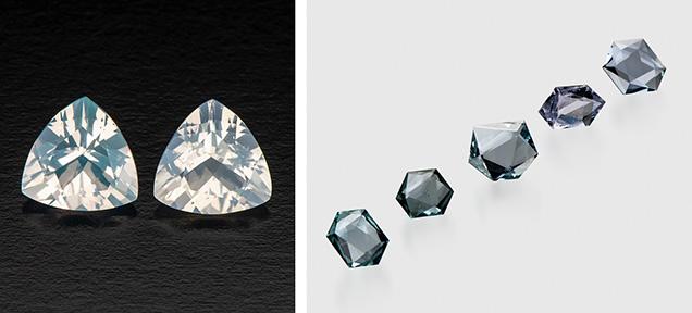 Trillion-cut blue hyalite opals.
