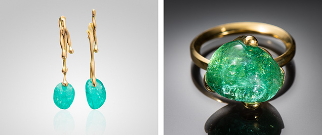 Drip Earrings and Emerald Ring