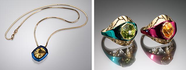 Chromanteq pendant and rings.