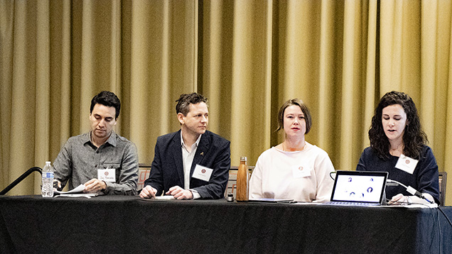 Four members of the Glossary Initiative present at the 2019 Jewelry Industry Summit. From left: Jay Moncada and Jared Holstein of Perpetuum Jewels; Erin Daily of Brooklyn Metalworks; and Emily Phillippy of Emily Chelsea Jewelry. Not pictured are Olivia Suffern of Olivia Marie Handcrafted Adornment and Christina T. Miller of Christina T. Miller Consulting and co-founder of Ethical Metalsmiths. Photo by Mike Pace, courtesy of the Jewelry Industry Summit.