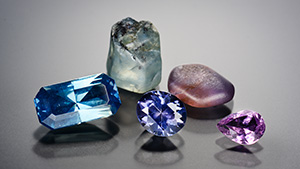 Five unheated Colombian sapphires.