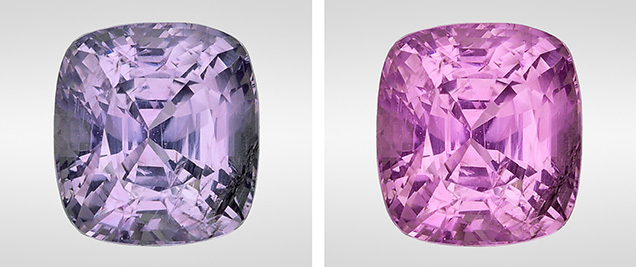 Side-by-side images of a cushion cut sapphire. The left shows a grayish violet color and the right a purple-pink color.