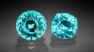 Two synthetic sapphires displayed colors similar to Paraíba tourmaline.