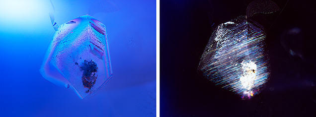 A guest crystal in the star sapphire viewed under cross-polarized light (left) and fiber-optic light (right).