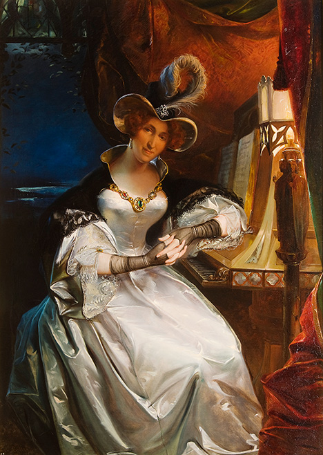 Cottreau's 1834 portrait of Queen Hortense wearing the talisman.