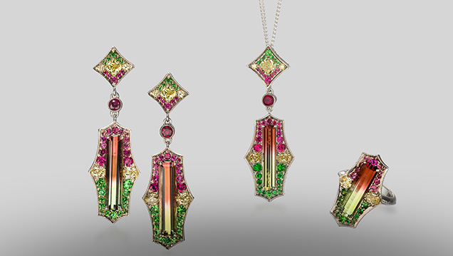 Bicolored elbaite tourmaline earrings, ring, and pendant.