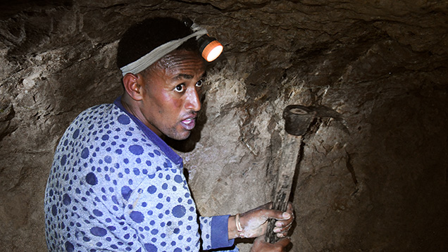 Ethiopian opal miner
