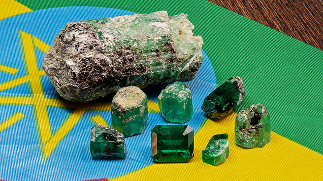 Rough and faceted Ethiopian emeralds
