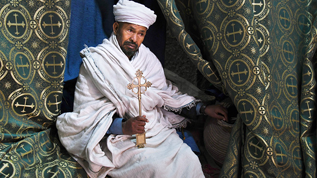 Priest at the Church of Saint George in Lalibela, Ethiopia