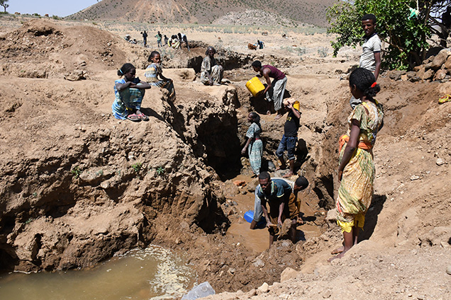 A family crew mining sapphire at Godefey, Ethiopia