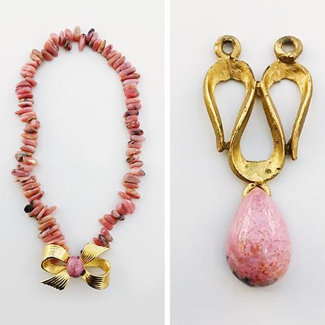 Jewels produced with Swiss rhodonite from Tanatz Alp