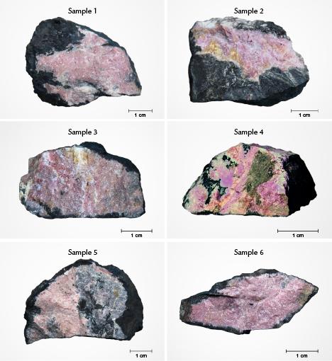 Rough samples of rhodonite from Tanatz Alp, Switzerland