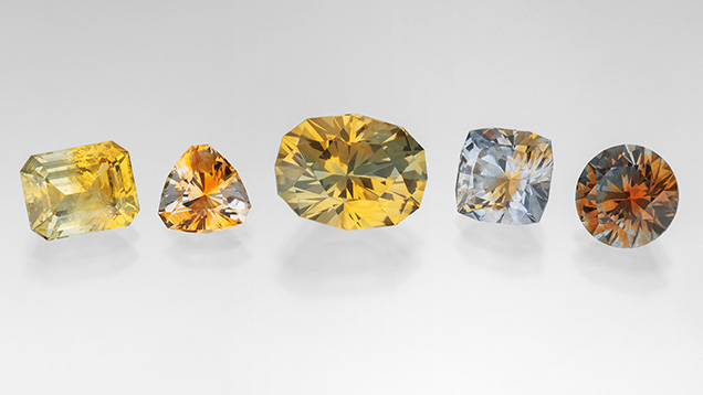 Bicolor sapphires from Rock Creek, Montana.