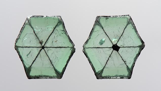 Trapiche emerald slices from Colombia.