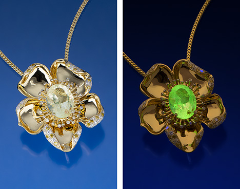 Fluorescent hyalite opal set in a yellow gold flower pendant.