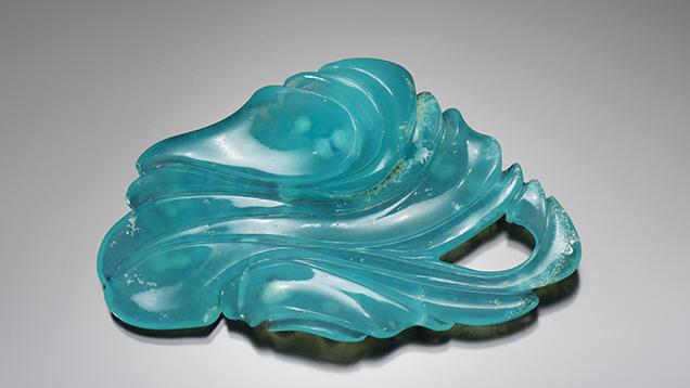 Blue gem silica carving by Nick Alexander.