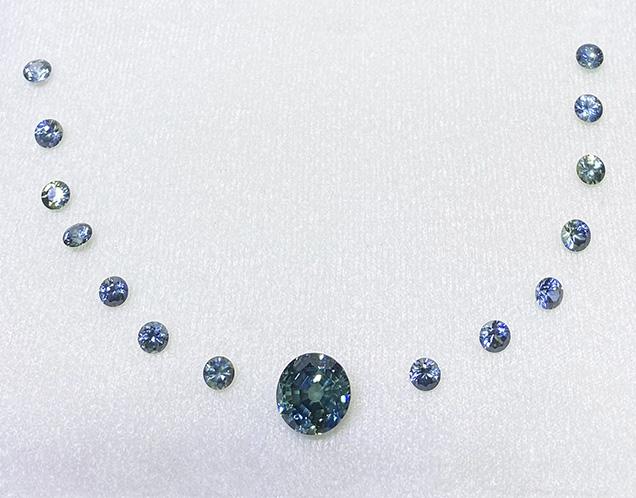 Teal blue Montana sapphires from Rock Creek.