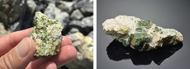 Demantoid usually occurs as very small grains in the host rock.