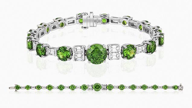 AGTA Spectrum Award winning Russian demantoid and diamond bracelet.