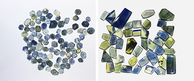 Parti-colored sapphire from Montana and Australia.