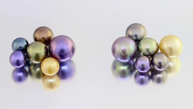Treated and naturally colored pearls.