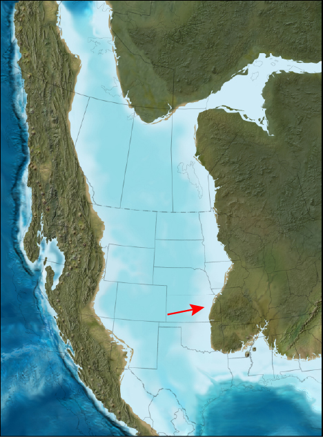Map of North America during the mid-Cretaceous period.