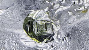 Green diamond crystal.