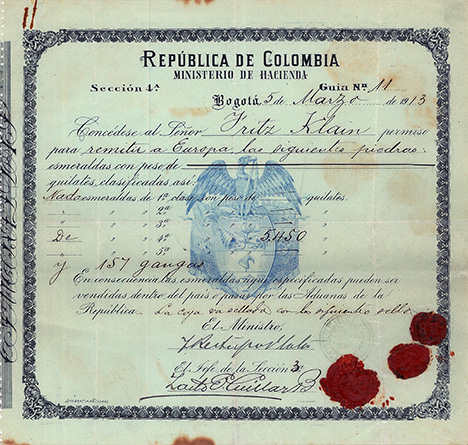 1913 export license issued to Fritz Klein
