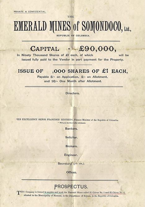 Prospectus from 1913–1914 to form Emerald Mines of Somondoco, Ltd.