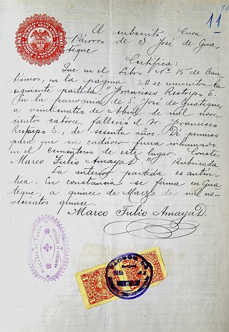 Francisco Restrepo's death certificate