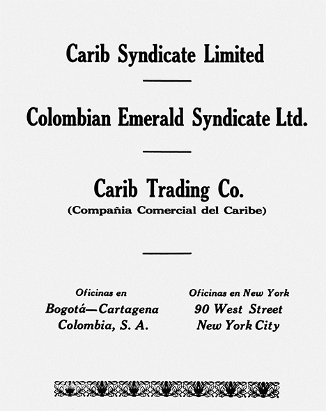Joint advertisement for Colombian oil and emerald