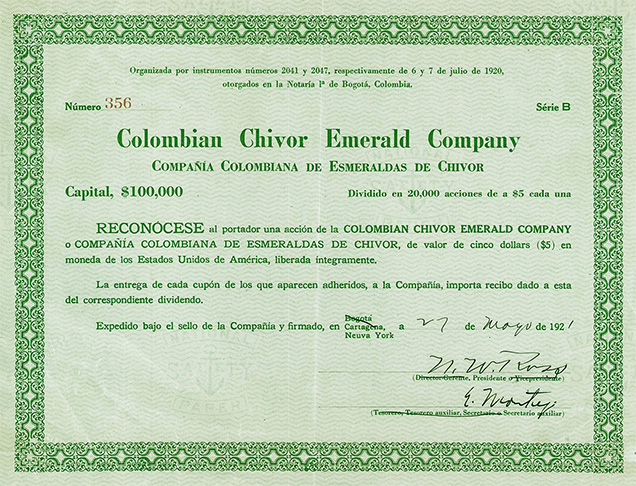 Share certificate for the Colombian Chivor Emerald Company