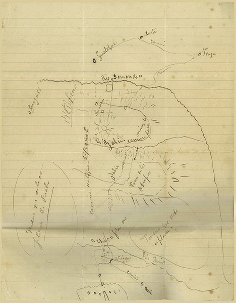 Hand-drawn map from Restrepo's collection of documents