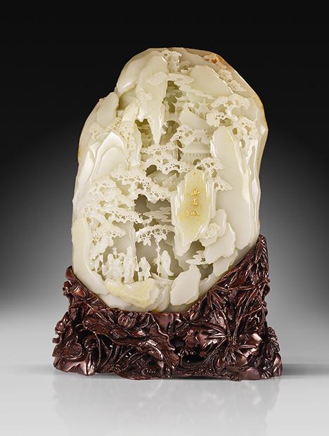 Modern work featuring pierced nephrite.