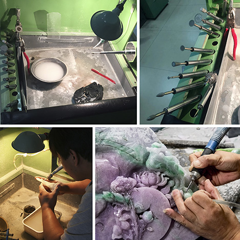 A carver works a jade piece on a jade grinding machine.
