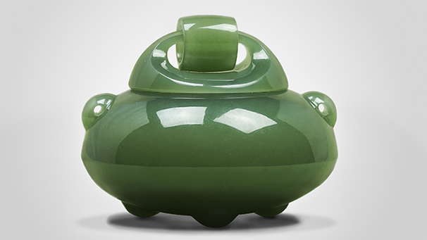 """Nephrite """"Incense Pot"""" by Guang Yang."""