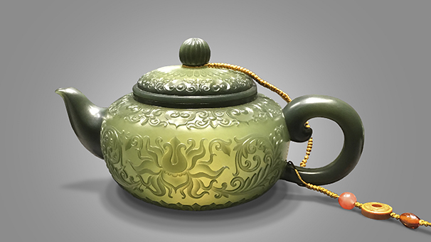 "Nephrite ""Eggshell Teapot"" by Ting Yu."