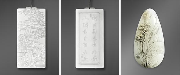 Three nephrite works by Yiwei Zhai.