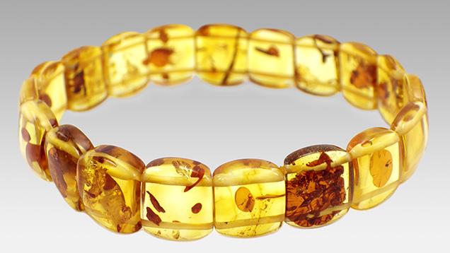 Bracelet featuring color-enhanced amber.