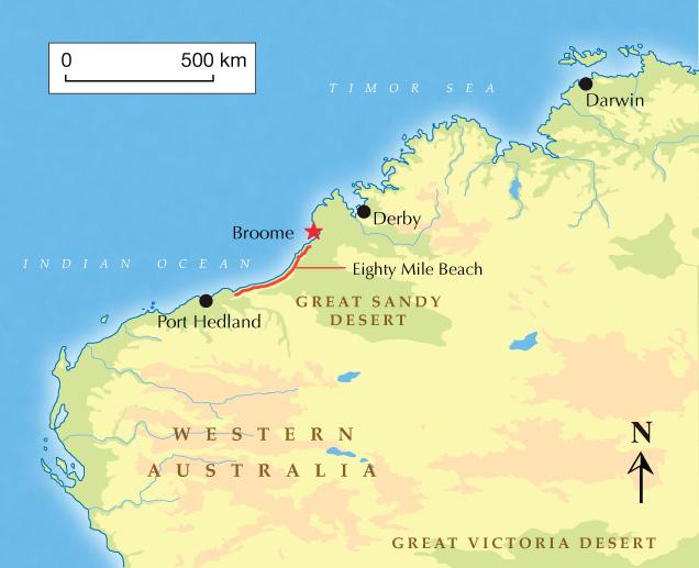 Map showing Eighty Mile Beach in Broome, Western Australia