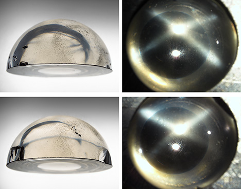 Natural diamond cabochons display asterism due to cloud inclusions.