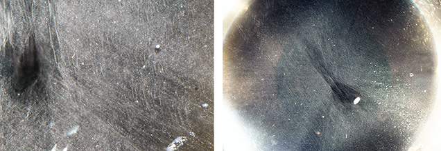Cloud and needle-like inclusions as seen from the base of the cabochons.