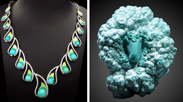 Turquoise necklace and sculpture